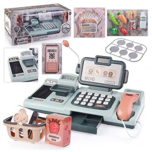 Купить Касса-магазин Oubaoloon с корзиной для покупок, 25 аксессуара, в коробке (888H), Играем в магазин