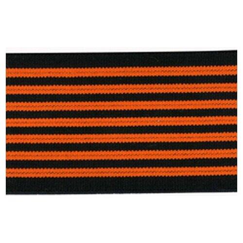 Купить Резинка неоновая, 50 мм, цвет оранжевый с черным 83 % полиэстр, 17% латекс, PEGA, Технические ленты и тесьма