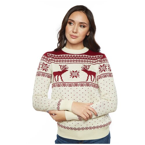 Женский свитер, классический скандинавский орнамент с Оленями и снежинками, натуральная шерсть, молочный цвет, размер XS