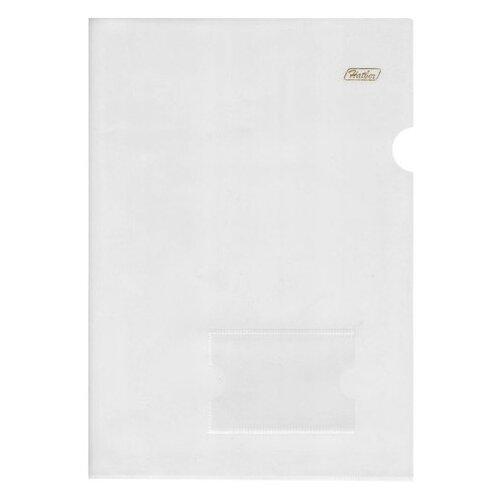 Папка-уголок с карманом для визитки, А4, прозрачная, 0,18 мм, AGкм4 00100, V246931