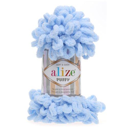 Купить Пряжа для вязания Alize 'Puffy' 100г 9м (100% микрополиэстер) (183 св.-голубой), 5 мотков