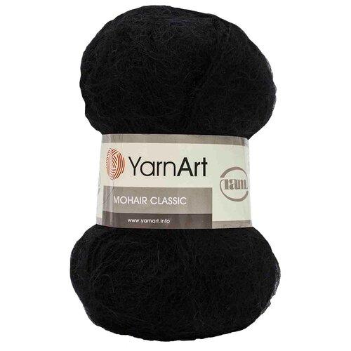 Купить Пряжа YarnArt 'Mohair' 100гр 220м (70% мохер, 30% акрил) (102 черный), 5 мотков
