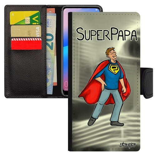 Чехол-книжка на мобильный Хуавей P20 Про уникальный дизайн Суперпапа Отец Супергерой