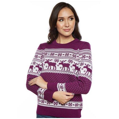 Женский свитер, классический скандинавский орнамент с Оленями и снежинками, натуральная шерсть, фиолетовый цвет, размер XS