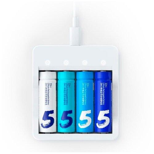 Фото - Зарядное устройство для пальчиковых аккумуляторов Xiaomi (Mi) ZMI PB421 в комплекте с аккумуляторами AA 2900mAh (4 шт), белое аккумуляторные батарейки xiaomi zmi zi5 aa aa512 4шт в упак 1700 мач