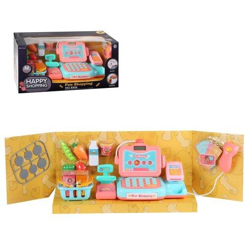 Игровой набор для детей Касса, на батарейках, 14 предметов, в комплекте весы, сканер, игрушечные деньги, продукты, звук, в/к 42,5*18,5*20 см