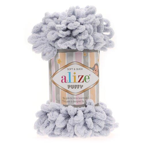 Пряжа для вязания Alize 'Puffy' 100г 9м (100% микрополиэстер) (416 св.серый), 5 мотков  - купить со скидкой