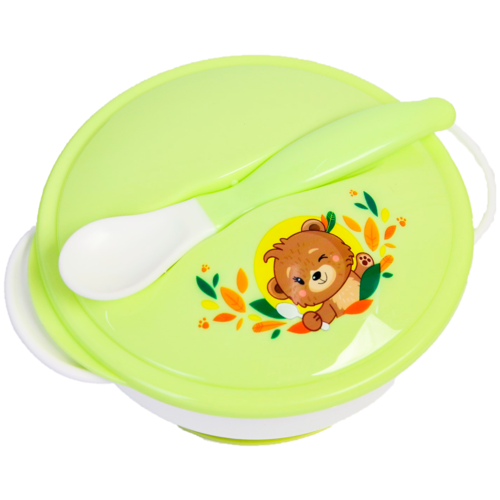 Купить Набор детской посуды «Друзья», 3 предмета: тарелка на присоске, крышка, ложка, цвет зелёный, Mum&Baby, Посуда