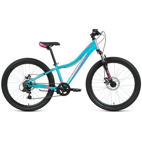 """Подростковый горный (MTB) велосипед FORWARD Jade 24 2.0 disc (2021) бирюзовый/розовый 12"""" (требует финальной сборки)"""