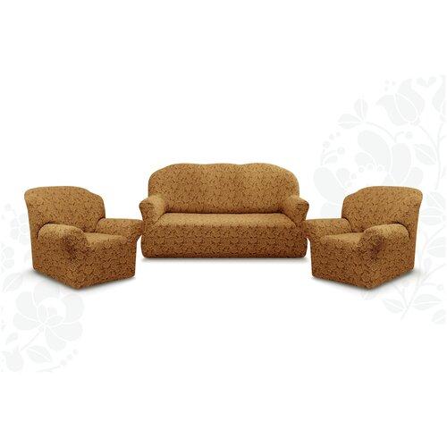 Чехлы без оборки Евро Престиж дизайн 10096 на Диван+2 Кресла, кофе с молоком