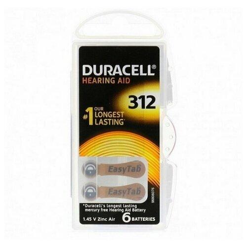 Фото - Батарейки DURACELL ZA312 (PR41) для слуховых аппаратов (6 шт) батарейки perfeo za312 6bl airozinc premium 6 штук