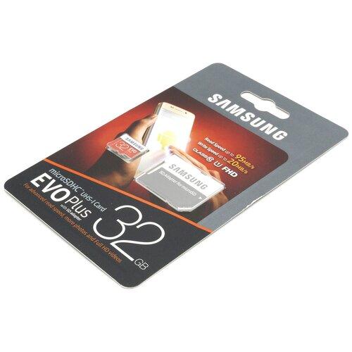 Фото - Карта памяти Samsung Evo Plus microSDHC 32 Гб + SD адаптер карта памяти samsung micro sd 32 гб 10 class sd адаптер