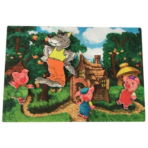 Купить Развивающая игра из фетра на липучках по сказке Три поросенка , Веселые липучки, Развивающие коврики