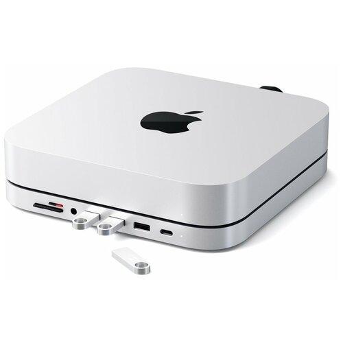 USB док станция с подставкой Satechi Mac Mini Stand & Hub для Mac Mini. Порты: 1x USB-C 3 x USB 35mm AUX SD microSD. Цвет: серебристый.