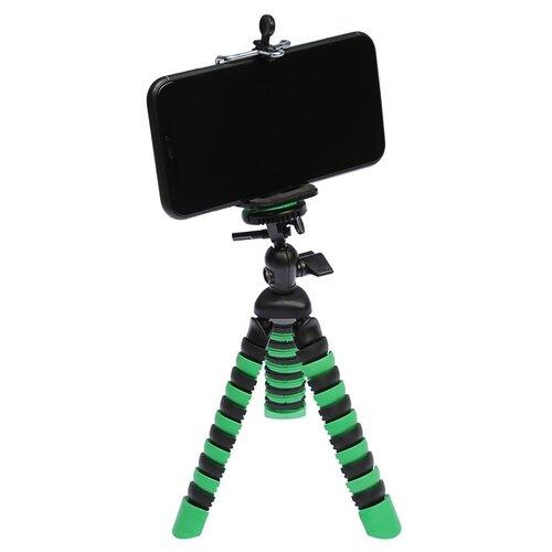 Штатив LuazON настольный для телефона гибкие ножки высота 20 см чёрно зелёный 4364248