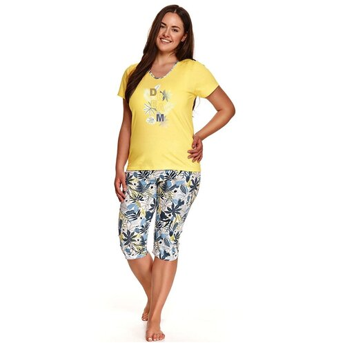 Фото - Taro Хлопковая пижама Donata со светлыми принтованными бриджами, желтый, XXXL taro мужская хлопковая пижама roman с клетчатым рисунком бордовый xxxl