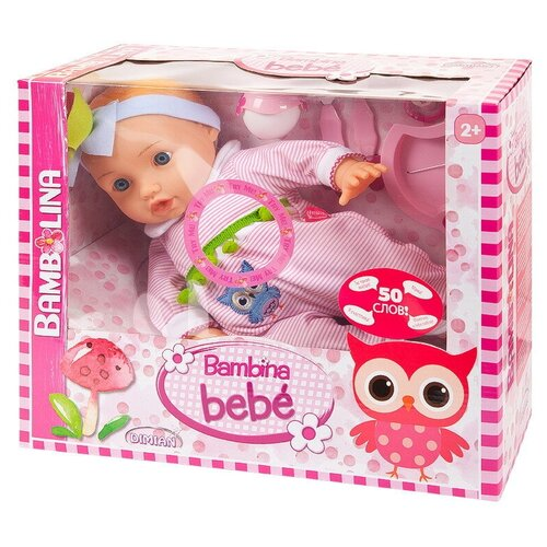 Фото - Кукла DIMIAN Bambina Bebe Пупс 42 см, с аксессуарами для кормления, звуковые эффекты dimian