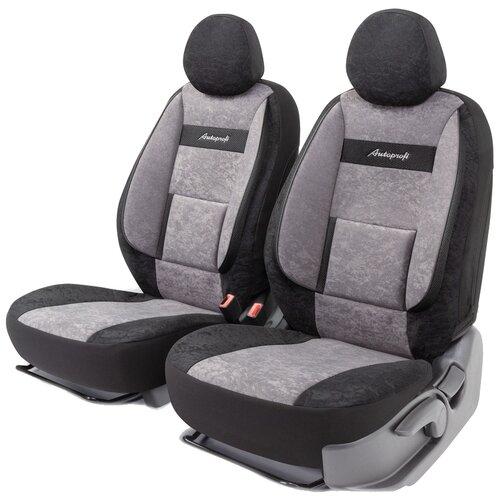 Получехлы на передние сиденья AUTOPROFI COM-0405 BK/D.GY COMFORT, велюр, 5 мм поролон, 3D крой, поясничный упор, 4 пред., чёрный/темно-серый