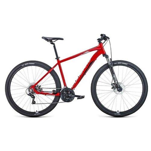 Горный (MTB) велосипед FORWARD Apache 29 2.2 Disc (2021) красный/серебристый 19 (требует финальной сборки) горный mtb велосипед forward apache 27 5 1 2 s 2021 желтый зеленый 19 требует финальной сборки