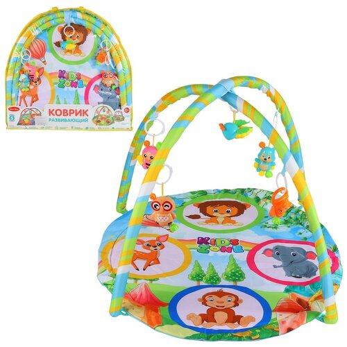 Детский коврик развивающий для малышей Smart Baby с подвесками-погремушками, коврик для ползания детский, коврик для детей, игровой коврик детский, коврик для малышей, коврик для ребенка, коврик для детей игровой, мягкий, размер 82 х 64 см, цвет зеленый