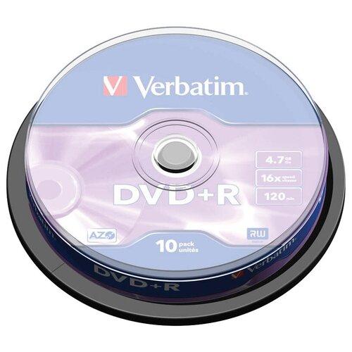 Фото - Диск DVD+R 4.7Gb Verbatim 16x Cake Box (10шт) диски bluray verbatim bd r 50gb 6x cakebox 10шт 43746