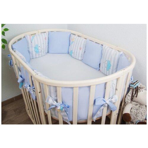 Фото - Сонный Гномик бортики-подушки Серебряная нить нежно-голубой бортики в кроватку сонный гномик серебряная нить