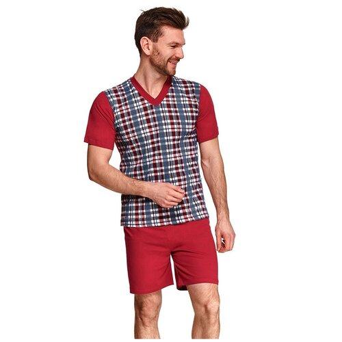 Фото - Taro Мужская хлопковая пижама Roman с клетчатым рисунком, бордовый, XXXL taro мужская хлопковая пижама roman с клетчатым рисунком бордовый xxxl