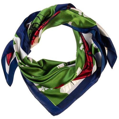 Шелковый платок на шею/Платок шелковый на голову/женский/Шейный шелковый платок/стильный/модный /21kdgPL902901-2vr зеленый,красный/Vittorio Richi/80% шелк,20% полиэстер/90x90