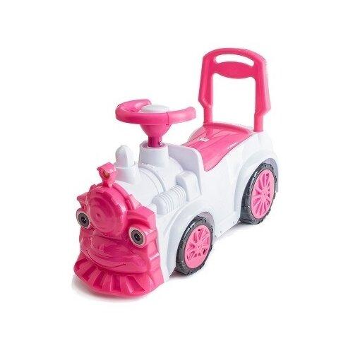 Купить Каталка-толокар Orion Toys Паровозик (761) со звуковыми эффектами белый/розовый, Каталки и качалки