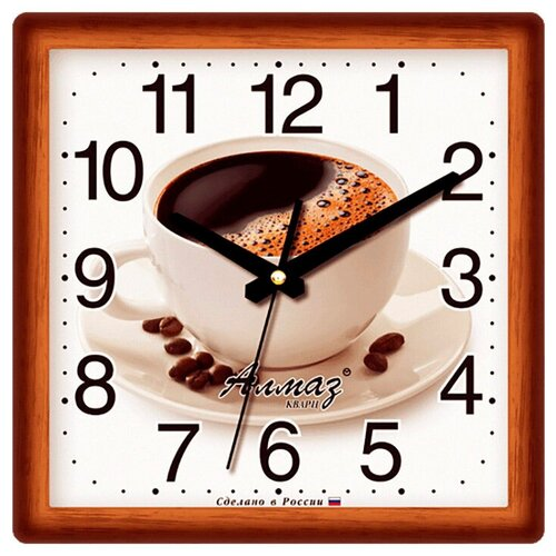 Фото - Часы настенные кварцевые Алмаз K22 темно-коричневый/белый часы настенные кварцевые алмаз a87 коричневый белый