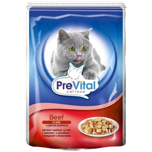 Влажный корм для кошек PreVital с говядиной 2 шт. х 100 г (кусочки в желе) влажный корм для кошек prevital с индейкой 28 шт х 85 г кусочки в желе