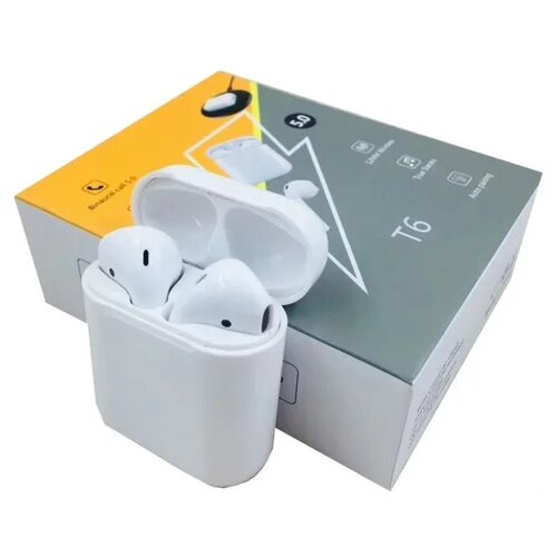 Беспроводные наушники T6 white