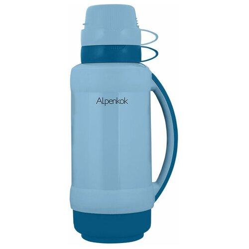 Классический термос Alpenkok со стеклянной колбой, 1 л серо-голубой
