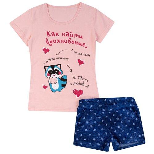 Фото - Комплект для девочки КМ-1428,футболка+шорты, Утенок, размер 68(рост 134) розовый_вдохновение шорты burberry 8010135 размер 6m 68 pale mint