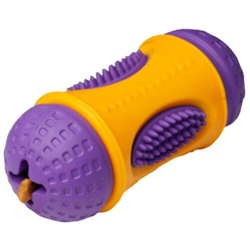 Игрушка для собак Homepet Silver Series цилиндр для лакомств каучук желто-фиолетовый 6 см х 13 см (1 шт)