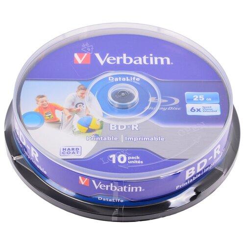 Фото - Диск BD-R Verbatim 25Gb 6x Wide Inkjet Printable 10 шт. cake box диск bd r 50gb cmc 6x full printable bulk упаковка 10 штук