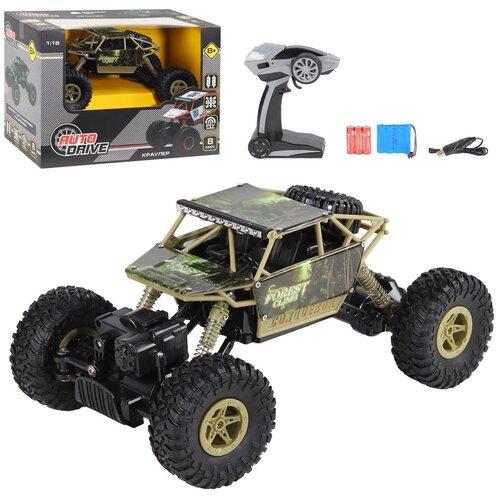 Купить Машинка детская на радиоуправлении Краулер ТМ AUTODRIVE, М 1:18 2.4G, 4WD, с зарядкой, 5 каналов, цвет хакки, в/к 32*18*23см, Радиоуправляемые игрушки