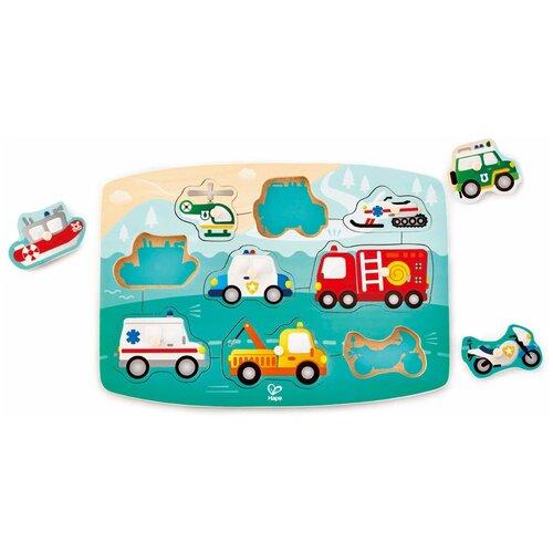 Рамка-вкладыш Hape Спасательный транспорт (E1406), 9 дет., Пазлы  - купить со скидкой