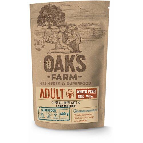 Сухой корм для кошек Oak's Farm беззерновой, с белой рыбой 400 г