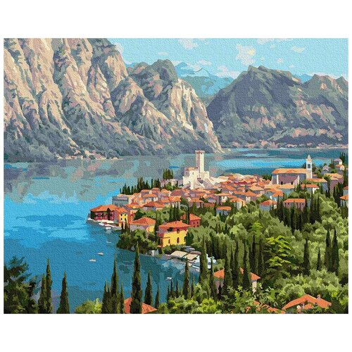 Картина по номерам Прищепа. Городок у моря, 40x50 см