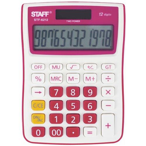Калькулятор настольный STAFF STF-6212 малиновый