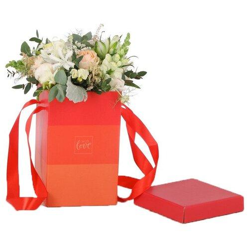 Коробка подарочная Дарите счастье «С любовью» 17 х 25 см красный коробка подарочная дарите счастье с любовью для тебя 23 х 7 5 х 16 см красный белый