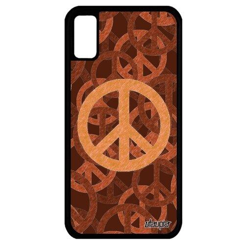 Чехол для Айфона XS оригинальный дизайн Peace and Love Пацифизм Мир и Любовь