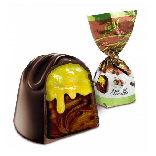 Итальянские конфеты Laica, Грушевый десерт в темном шоколаде с двойной начинкой, 1кг пицца 2 берега с двойной начинкой