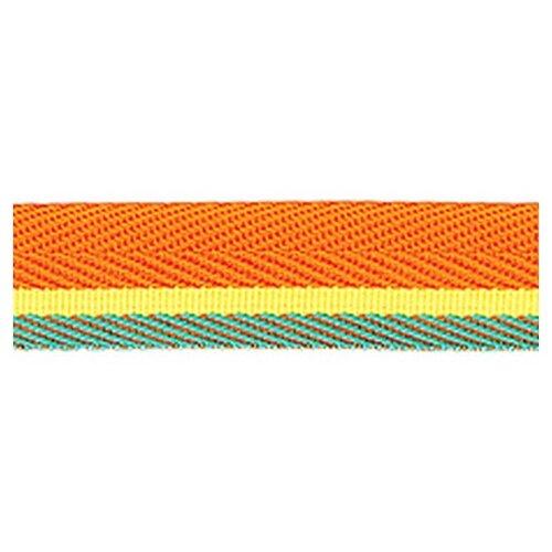 Тесьма ременная (стропа) PEGA оранжевая с желтой и зеленой полосами, 20 мм 100% полиэстер
