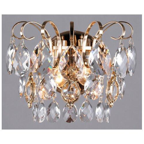 Фото - Настенный светильник Eurosvet Crystal 10081/2 золото/прозрачный хрусталь Strotskis, E14, 120 Вт люстра eurosvet crystal 10081 6 хром прозрачный хрусталь e14 360 вт