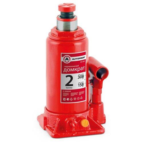 Фото - Домкрат бутылочный гидравлический AUTOPROFI DG-02K (2 т) красный аксессуары для автомобиля autoprofi домкрат бутылочный гидравлический 2 тонны dg 02k
