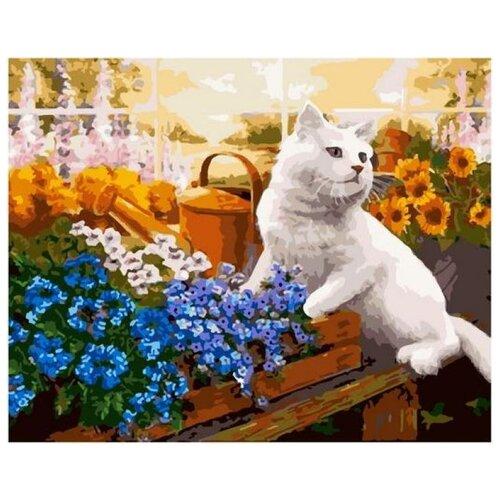 Купить Картина по номерам GX 38919 Котик в цветах 40*50, Paintboy, Картины по номерам и контурам