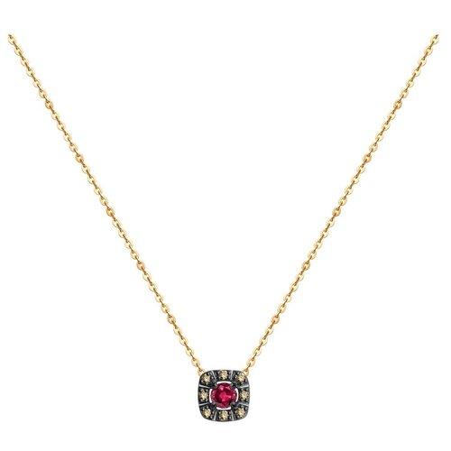 SOKOLOV Колье из золота с бриллиантами и рубином 4070005, 40 см, 1.49 г