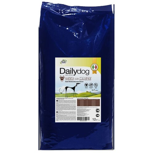 Сухой корм для собак DailyDog оленина, с кукурузой 12 кг
